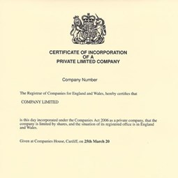 Solicitor Certified Certificate of Incorporation